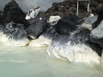 Lava rock covered in silica mud...