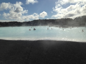 ...black sand and the lagoon...