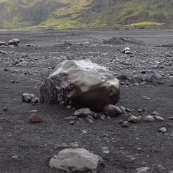 ...smooth volcanic boulders...