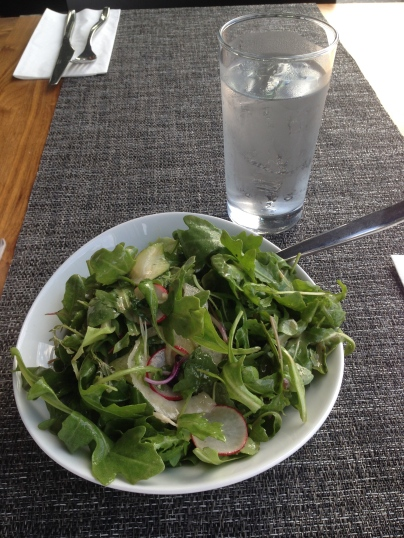 Mixed salad leaves, arugula and seasonal vegetables
